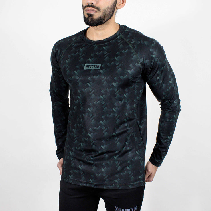 Dri-Stretch Pro Full Sleeves T-shirt - Mud Green - Devoted Gym Wear & Sports Clothing - Front Side