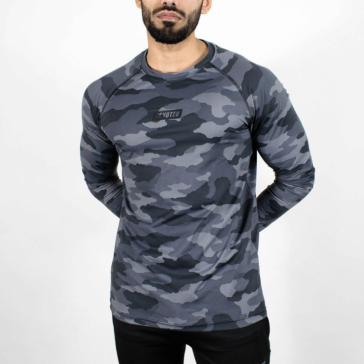 Dri-Stretch Pro Full Sleeves T-shirt - Grey Camo 2 - Devoted Gym Wear & Sports Clothing - Front