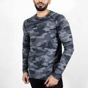 Dri-Stretch Pro Full Sleeves T-shirt - Grey Camo 2 - Devoted Gym Wear & Sports Clothing - Front side
