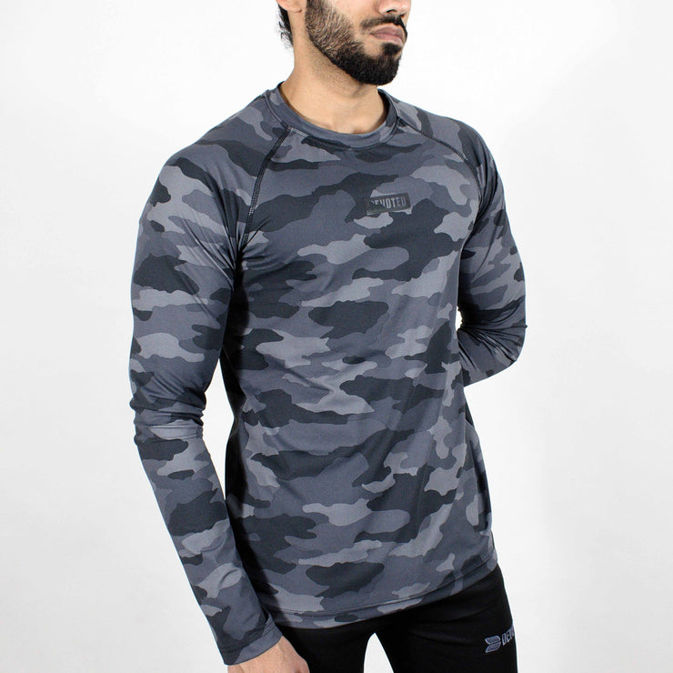 Dri-Stretch Pro Full Sleeves T-shirt - Grey Camo 2 - Devoted Gym Wear & Sports Clothing - Side