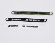 Devoted wear Wrist Band in Black, White & Green | Silicone band | Live Your Workout | Gym Wear & SportsWear - All