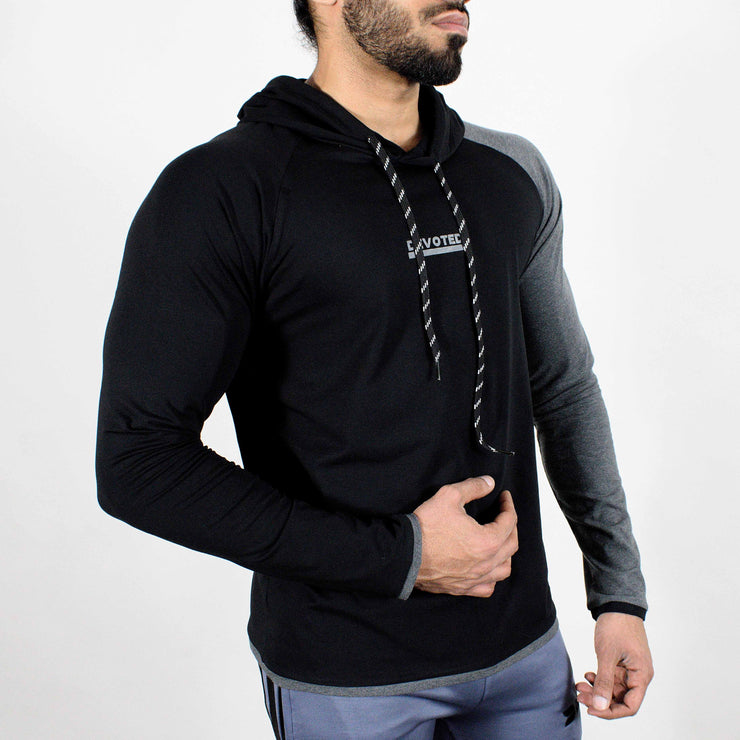 Devoted Hoodie Tshirt - Finest quality cloth ever! - Gym wear & sports wear - Jet Black - Side