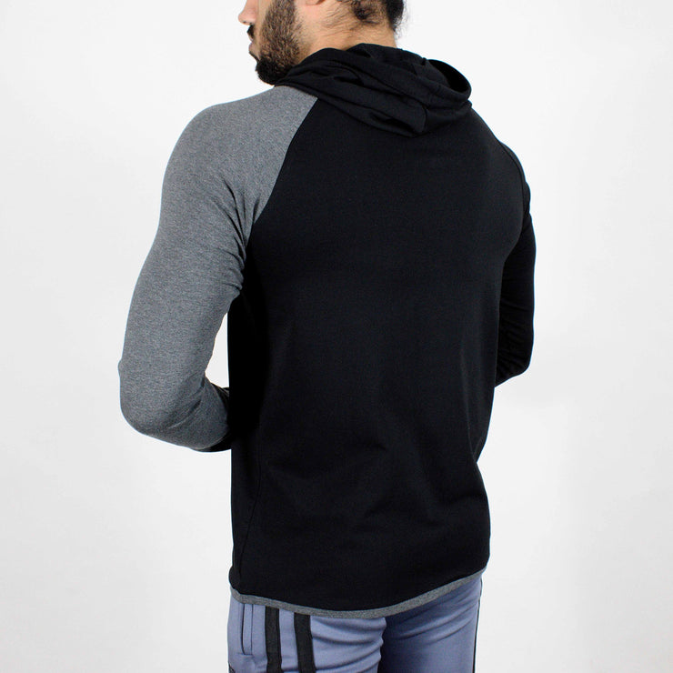 Devoted Hoodie Tshirt - Finest quality cloth ever! - Gym wear & sports wear - Jet Black - Back