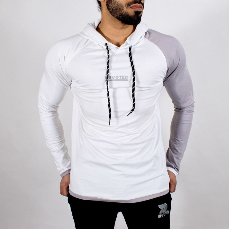 Devoted Hoodie Tshirt - Finest quality cloth ever! - Gym wear & sports wear - Ghost White - Side