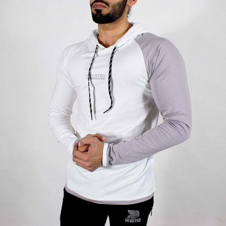 Devoted Hoodie Tshirt - Finest quality cloth ever! - Gym wear & sports wear - Ghost White - Front