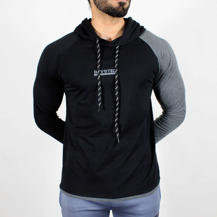 Devoted Hoodie Tshirt - Finest quality cloth ever! - Gym wear & sports wear - Jet Black - Front