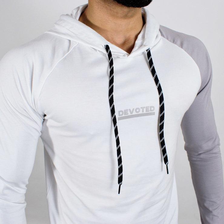 Devoted Hoodie Tshirt - Finest quality cloth ever! - Gym wear & sports wear - Ghost White - Closeup