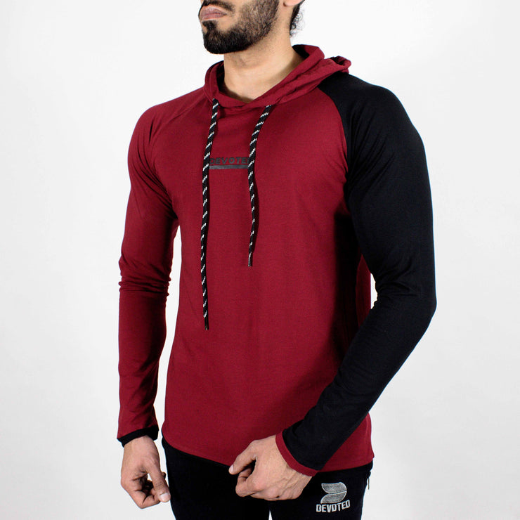 Devoted Hoodie Tshirt - Finest quality cloth ever! - Gym wear & sports wear - Maroon - Side
