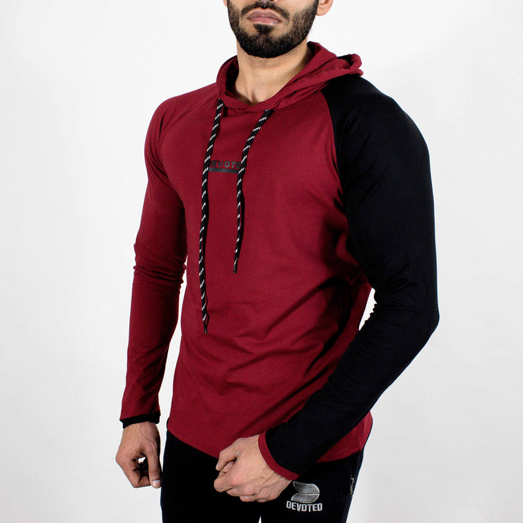 Devoted Hoodie Tshirt - Finest quality cloth ever! - Gym wear & sports wear - Maroon - Front