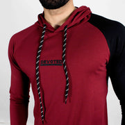 Devoted Hoodie Tshirt - Finest quality cloth ever! - Gym wear & sports wear - Maroon - Closeup