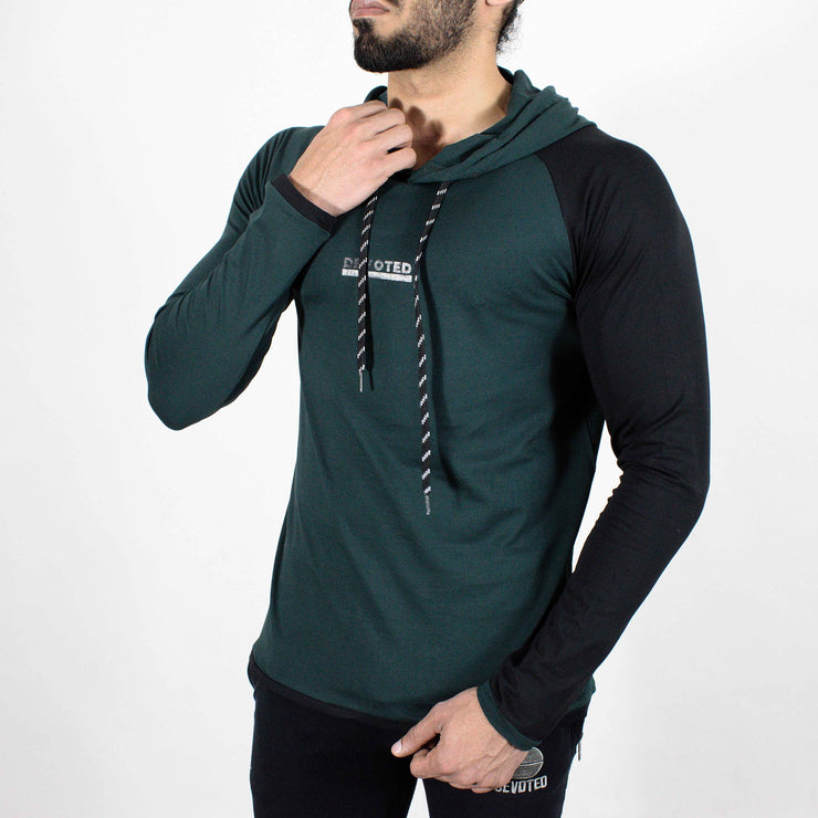 Devoted Hoodie Tshirt - Finest quality cloth ever! - Gym wear & sports wear - Hunter Green - Side