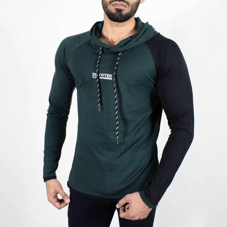 Devoted Hoodie Tshirt - Finest quality cloth ever! - Gym wear & sports wear - Hunter Green - Side 2