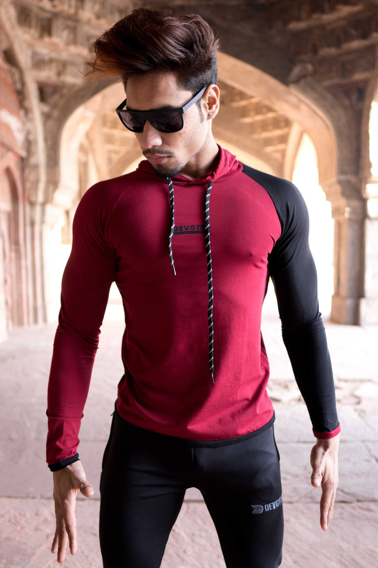 Devoted Hoodie Tshirt - Finest quality cloth ever! - Gym wear & sports wear - Maroon - Nikhil Jain (@Nikhil_Jain23)