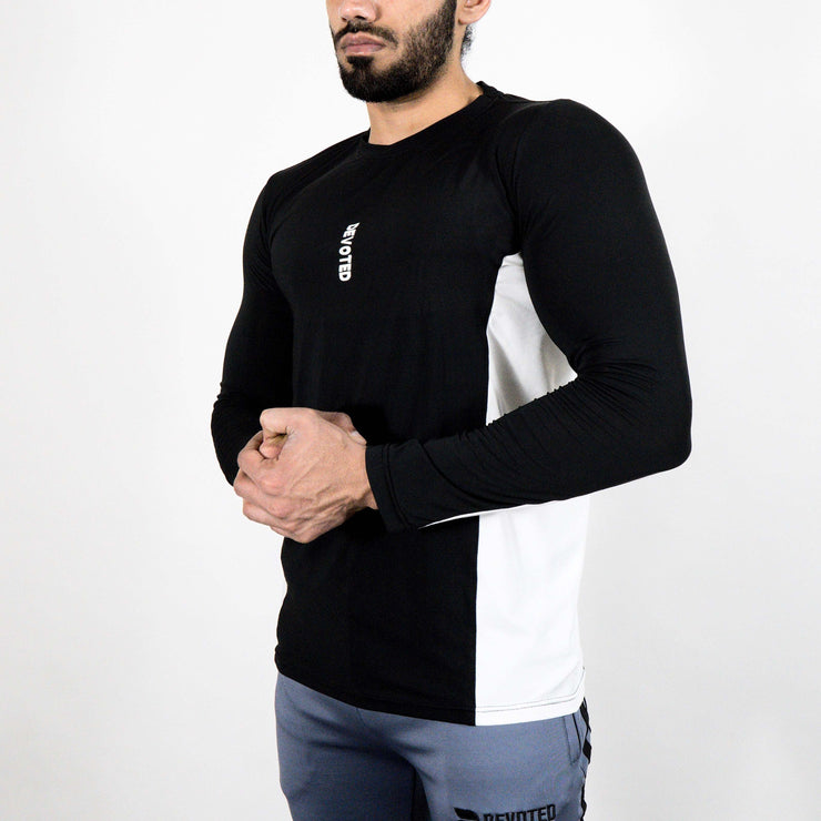 Devoted Dri-Stretch Pro Full Sleeves T-shirt - Black & White Split Design - Gym wear & Sports clothing - Side 2