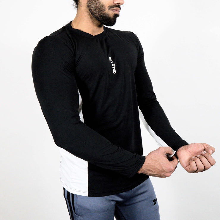 Devoted Dri-Stretch Pro Full Sleeves T-shirt - Black & White Split Design - Gym wear & Sports clothing - Side