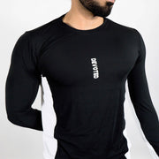 Devoted Dri-Stretch Pro Full Sleeves T-shirt - Black & White Split Design - Gym wear & Sports clothing - Closeup