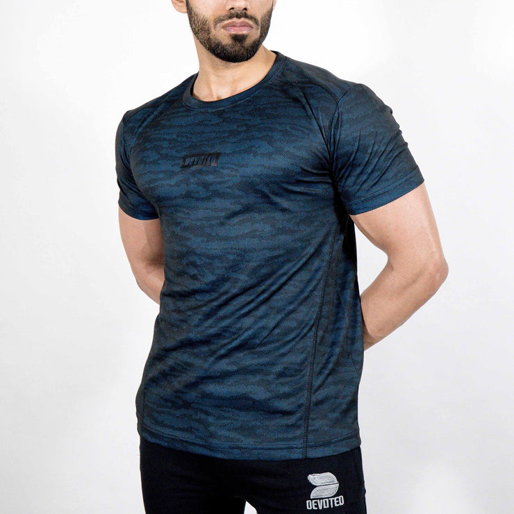 Dri-Stretch Pro Half Sleeves T-shirt - Black Blue Camo - Devoted Gym Wear & Sports Clothing - Front