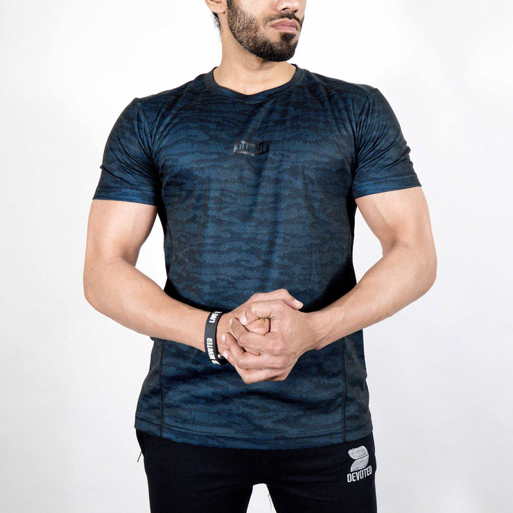 Dri-Stretch Pro Half Sleeves T-shirt - Black Blue Camo - Devoted Gym Wear & Sports Clothing - Front 2