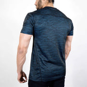 Dri-Stretch Pro Half Sleeves T-shirt - Black Blue Camo - Devoted Gym Wear & Sports Clothing - Back