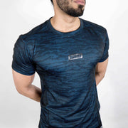 Dri-Stretch Pro Half Sleeves T-shirt - Black Blue Camo - Devoted Gym Wear & Sports Clothing - Closeup