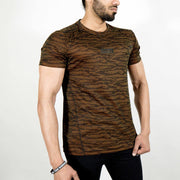 Dri-Stretch Pro Half Sleeves T-shirt - Black Yellow Camo - Devoted Gym Wear & Sports Clothing - Front