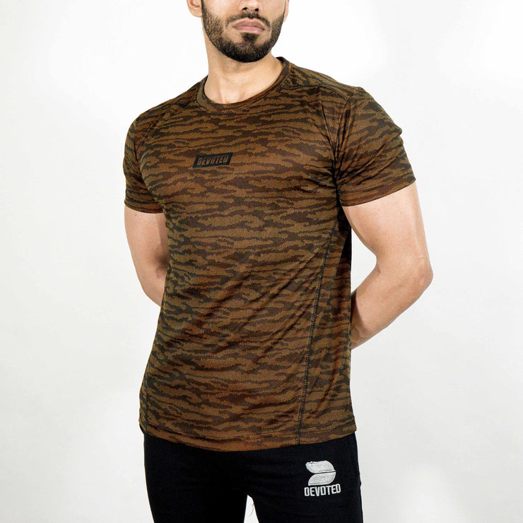 Dri-Stretch Pro Half Sleeves T-shirt - Black Yellow Camo - Devoted Gym Wear & Sports Clothing - Front 2