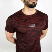 Dri-Stretch Pro Half Sleeves T-shirt - Black Red Camo - Devoted Gym Wear & Sports Clothing - Closeup