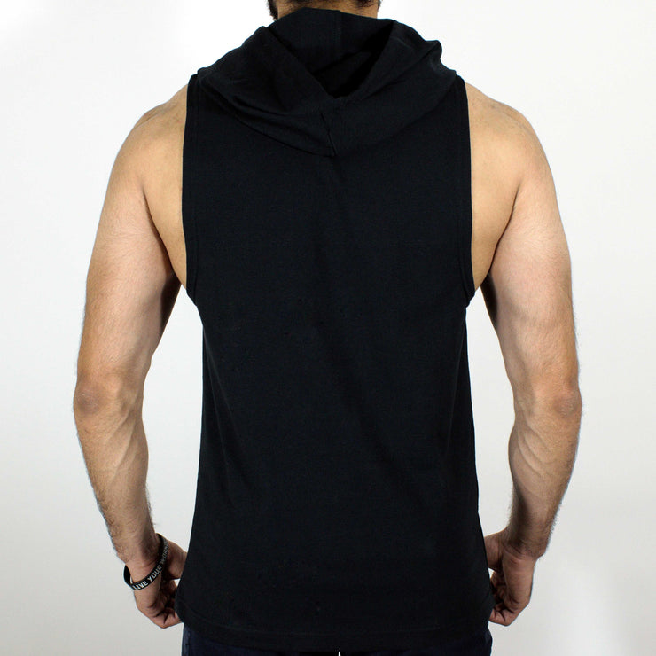 Devoted Allure Sleeveless Hoodie - Black - Stretch - Back | Stretch-Muscle Fit | Gym Wear | SportsWear