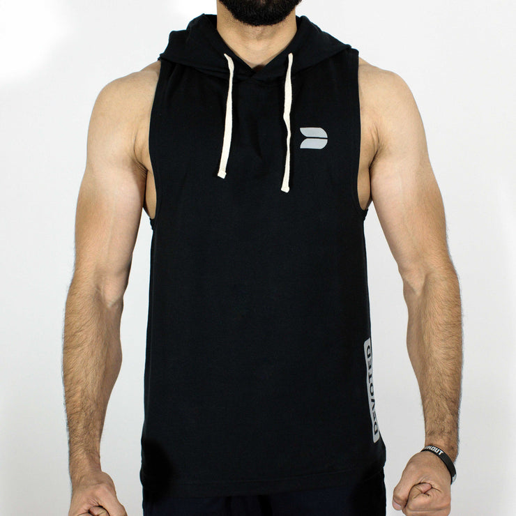 Devoted Allure Sleeveless Hoodie - Black - Stretch - Front | Stretch-Muscle Fit | Gym Wear | SportsWear