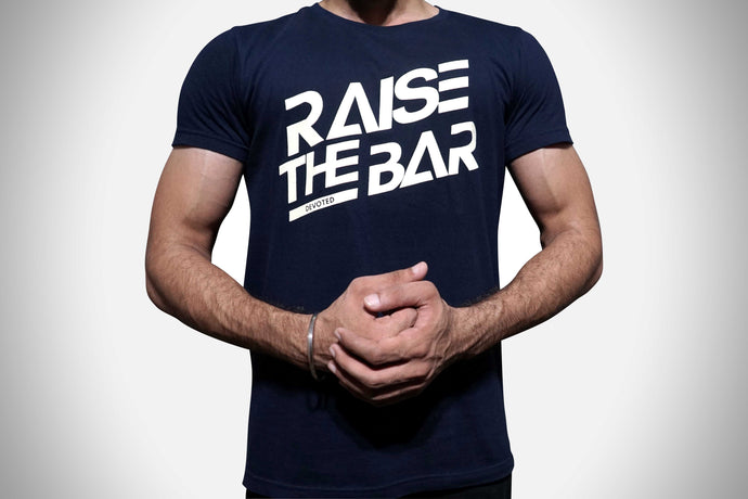 Devoted Raise The Bar Navy Blue T-shirt Front | Devoted Wear | Gym Wear | India | Sports Wear