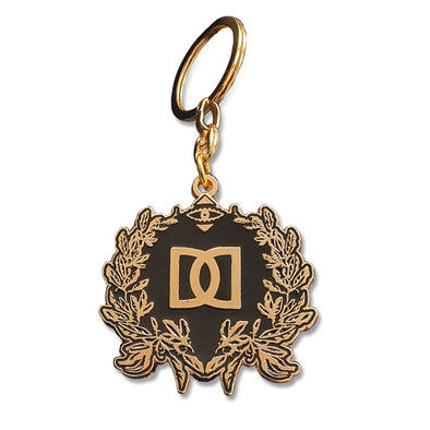 NEW! -  CHUNKY ENAMEL GOLD CREST KEYRING/PURSE FOB