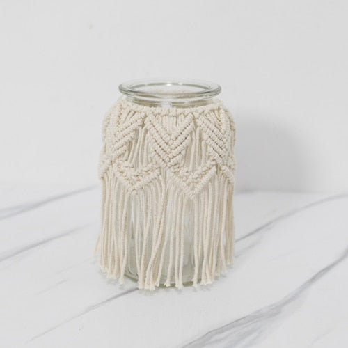 Woven Glass Macrame Flower Vase Creative Simple Vase Decoration Home Small Fresh Dried Flower Home Decoration Accessories Modern