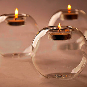 10cm Table Glass Ball Candle Holder Terrarium Bauble Vase Wedding Home Decoration Room Deco Candle Stand Holder