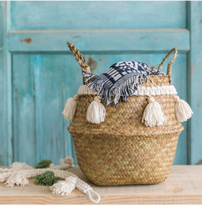 Seagrass white basket for decoration laundry basket  woven basket  gift basket handmade tassel Vase