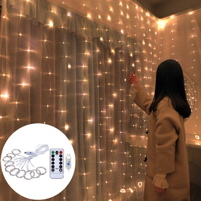 wedding decoration 3m 100/200/300 LED Curtain String Light Flash Fairy Garland Happy New Year 2021 Noel Navidad 2020 home decor