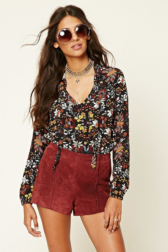 Tie-Neck Ornate Print Bodysuit