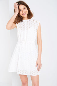 WOOLSCOTT BRODERIE SHIRT DRESS