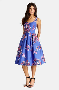 Print Cotton Blend Midi Dress