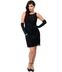 1930s Style Black Sleeveless Embroidered Lace Cocktail Dress