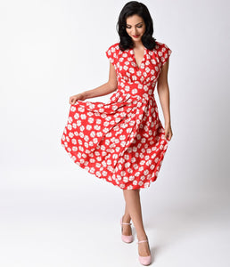1930s Style Red Dappled Dandelion Cap Sleeve Flora Swing Dress