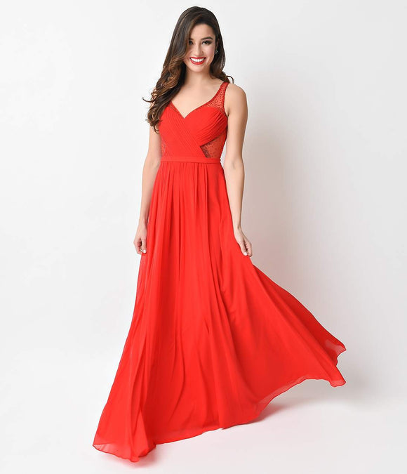 1930s Style Red Illusion Maxi Gown