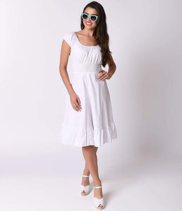 1940s Style All White Cap Sleeve Peasant Stretch Swing Dress