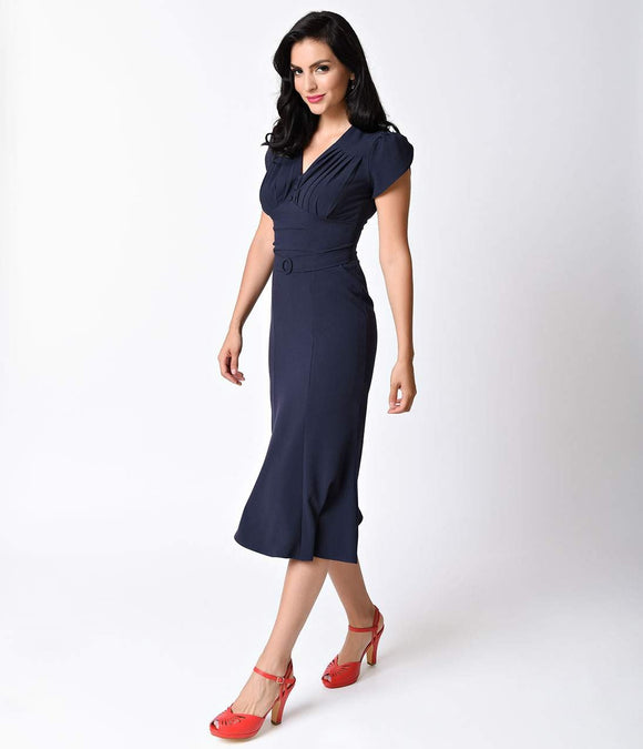 1940s Style Navy Blue Cap Sleeve So Foxy Wiggle Dress