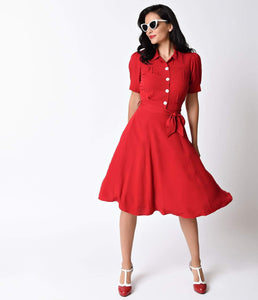 1940s Style Red Shirt Waister Short Sleeve Swing Dress
