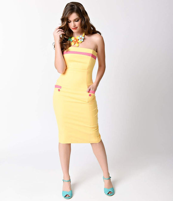Glamour Bunny 1950s Yellow Strapless Alice Wiggle Dress