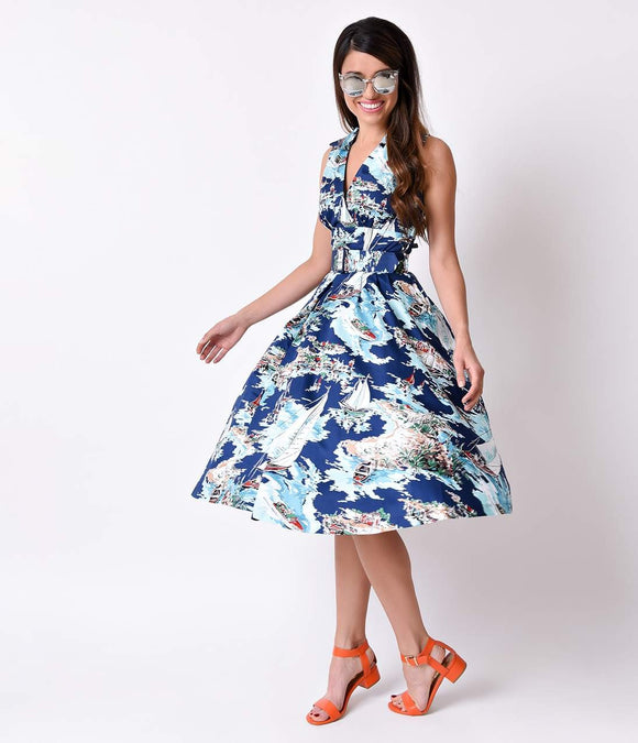 Retrospec'd 1950s Pinup Style Blue Riviera Laura Cotton Swing Dress