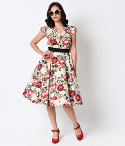1950s Pixelated Floral Vanilla Rose Swing Dress