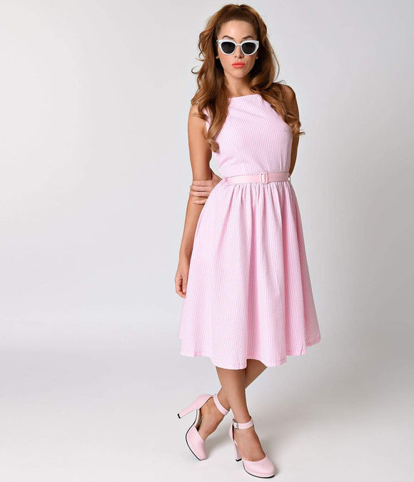 Lindy Bop 1950s Retro Pink Mini Gingham Audrey Swing Dress