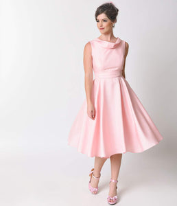 Heart of Haute 1950s Baby Pink Shantung Suzette Bridesmaid Dress