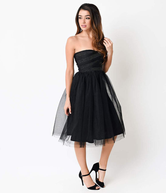 1950s Style Black Beaded Strapless Tulle Party Dress